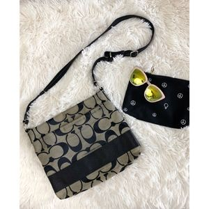 COACH black+white cross body bag